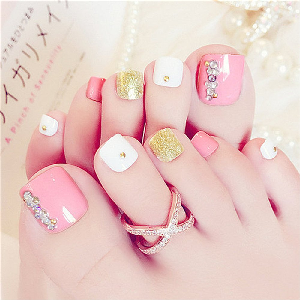 BloomingBoom 24 Pcs 12 Sizes Full Cover False Fake Nail Toes Toenail Artificial Design Nail Art Tips Woman Girl Elegant Gift French Style Cute Pink White Rhinestone Crystal Ltd