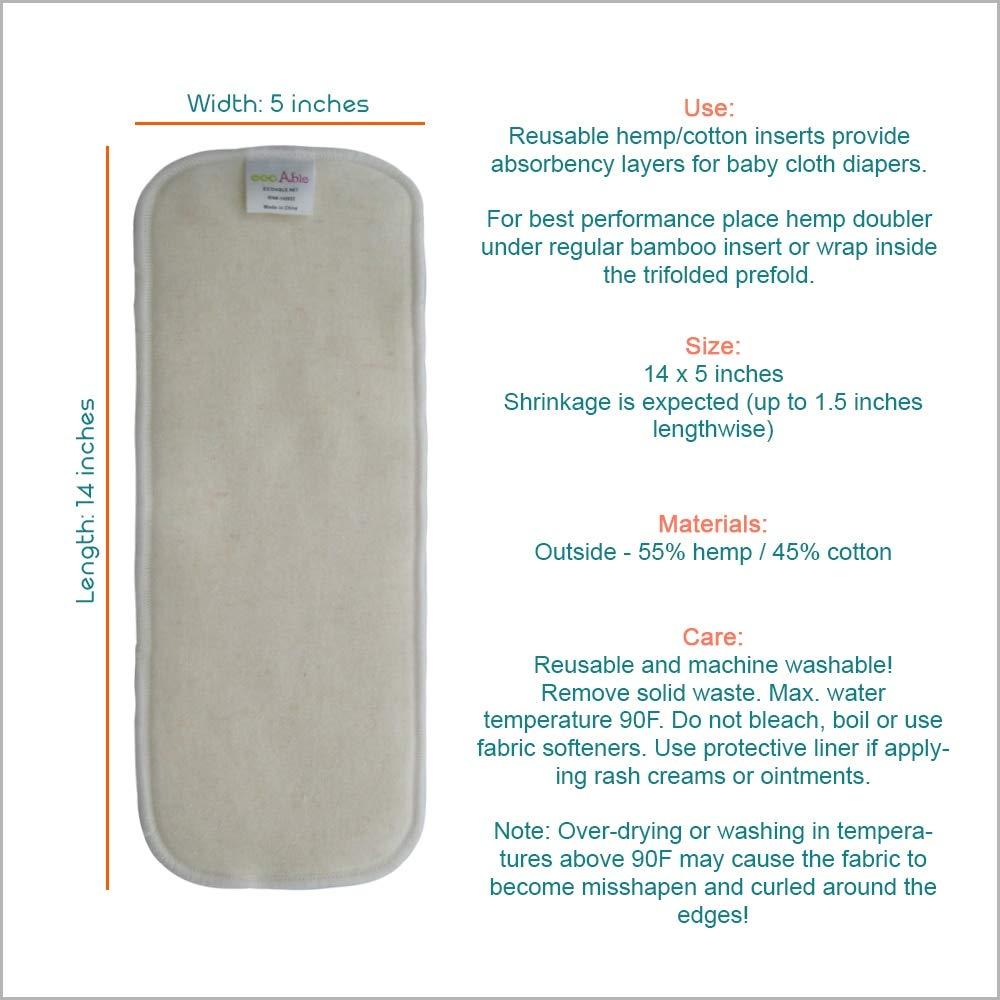 Hemp Diaper Inserts Overnight Cloth Diaper Doubler Booster Pads