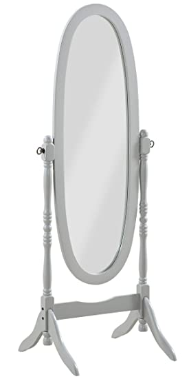 PEGANE Miroir sur Pied, Psyché, Miroir Oval en Bois Gris et inclinable -  Dim : L 59 x P 49.5 x H 150 cm