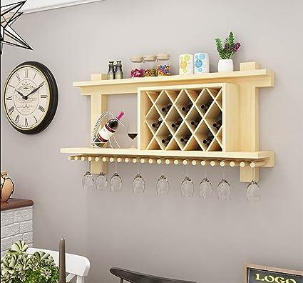 Estante para vinos Colgante de pared de madera maciza Creativo gabinete para vino Restaurante Sala de