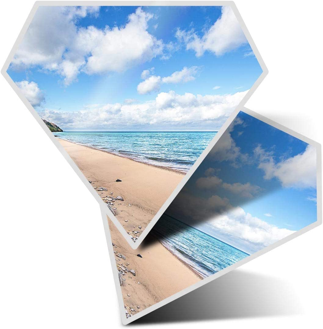 Awesome 2 x Diamond Stickers 7.5 cm - Lake Michigan North America USA Fun Decals for Laptops,Tablets,Luggage,Scrap Booking,Fridges,Cool Gift #21781