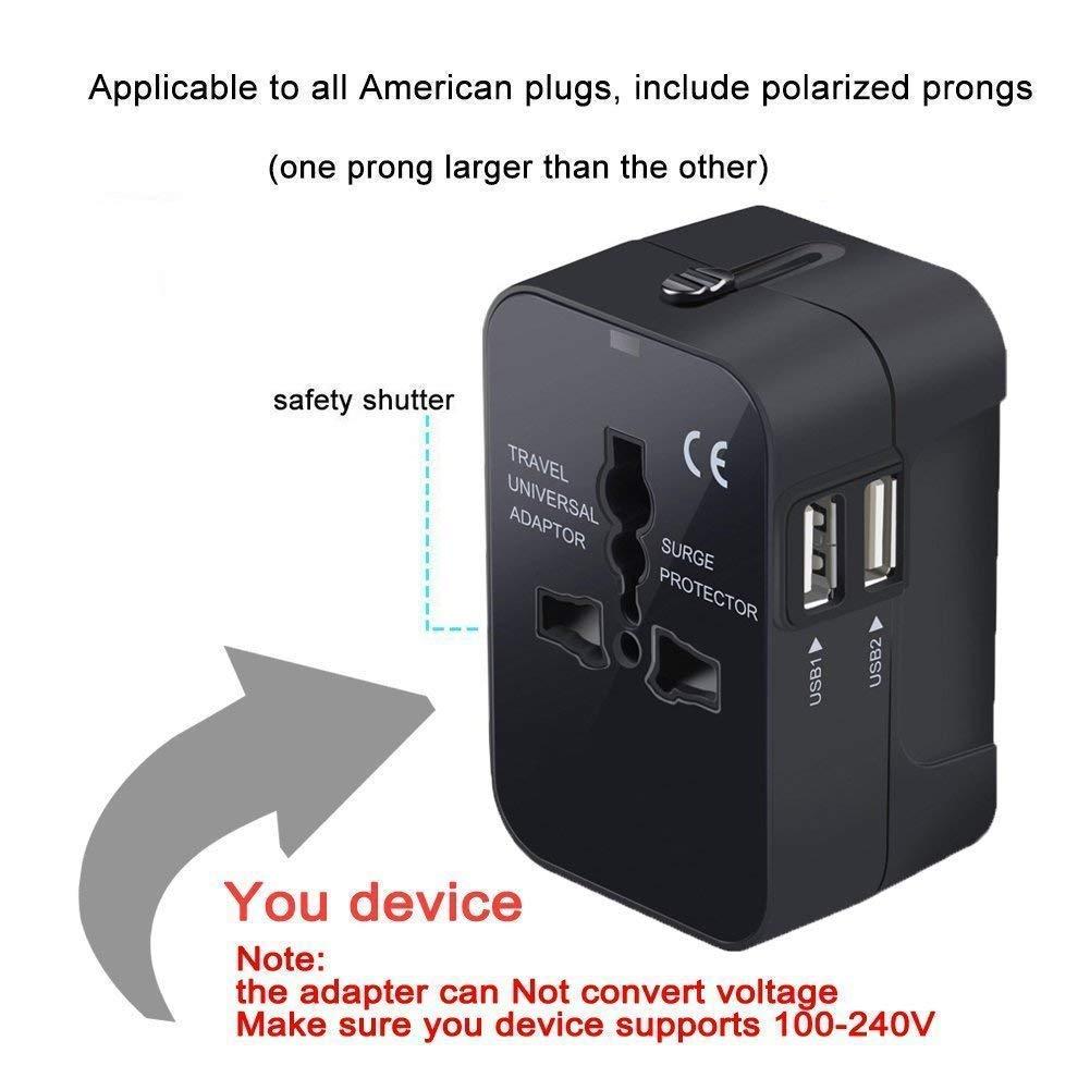 Adaptador universal de enchufe de viaje,cargador de pared, adaptador de enchufe de alimentación AC todo en uno con puertos de carga USB duales para Estados ...