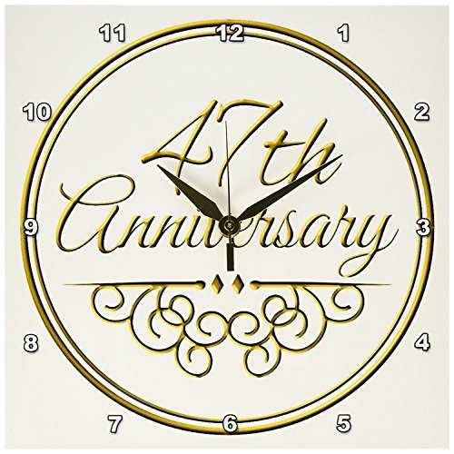 Cheap 3dRose dpp_154489_1 47th Anniversary Gift Gold Text for Celebrating Wedding Anniversaries 47 Years Married Together Wall Clock, 10 by 10-Inch