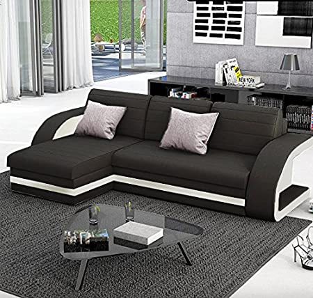 Muebles Bonitos Hilda Sofa Bed with Chaise Longue Black with White