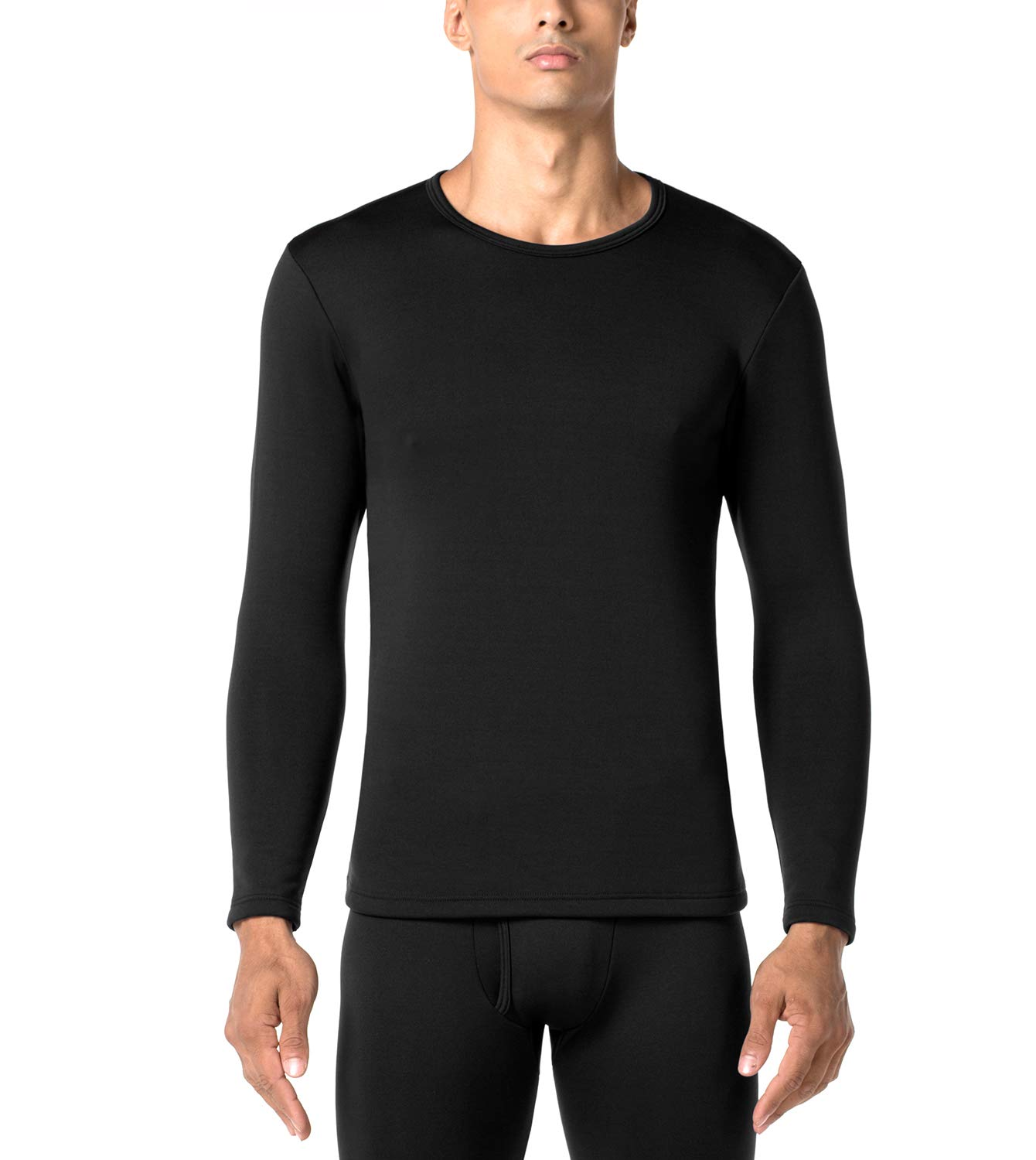 LAPASA Men's Heavyweight Thermal Underwear Top Fleece Lined Base Layer Long Sleeve Shirt M26 (Black, X-Large) by LAPASA