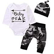 Funny Baby Bear Onsie Newborn Outfit Baby Boy Girl Set Bodysuits Long Sleeve Romper Cute Jumpsuit Camouflage 0-3 Months