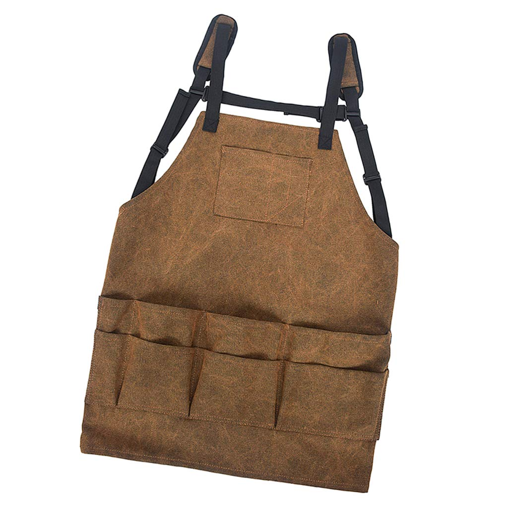 Adjustable perfeclan Professional Canvas Work Apron Bib with Different Size Tool Pockets Waterproof /& Protective