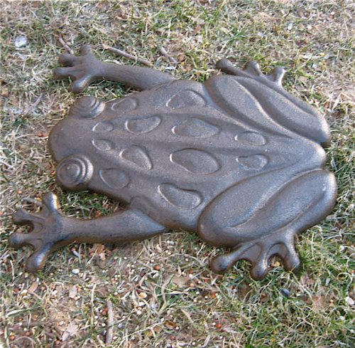 Set of 6 Cast Iron Frog Stepping Stones Rustic Brown Finish
