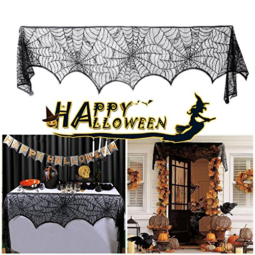 Spider Web Halloween Fireplace Cover for Haunted House Mysterious Dinner Party Decorations Lovne 【Black (Halloween Web Banners)
