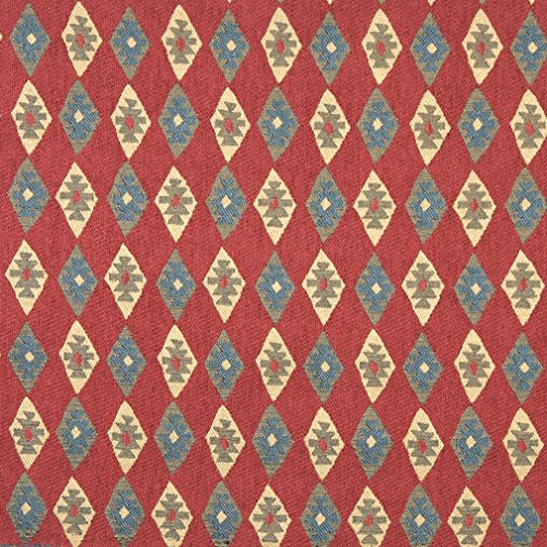 Red Beige and Coral Vintage Look Cabin Southern Chenille Upholstery Fabric by the yard