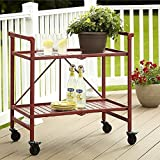 Rolling Serving Cart Wheels Outdoor Folding Portable Patio Indoor Trolley Food Cocktail Storage Home Kitchen Furniture Bar Living Dining Room Shelves Metal Ruby Red