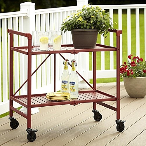 Rolling Serving Cart Wheels Outdoor Folding Portable Patio Indoor Trolley  Food Cocktail Storage Home Kitchen Furniture