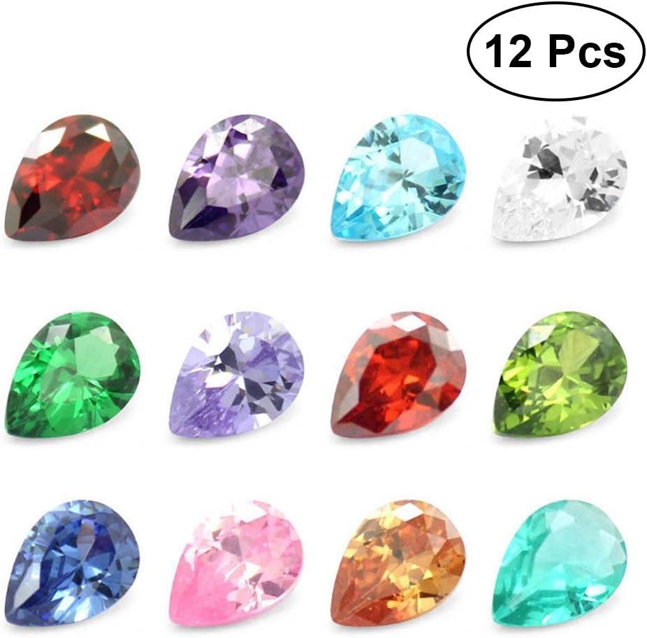 TOYMYTOY 12pcs adornos de piedras preciosas gemas en forma de gota de agua para la decoración de fiesta artesanal artes artesanales (color surtido)