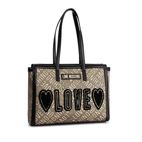Borsa shopper jacquard con Logo dorata e nera art