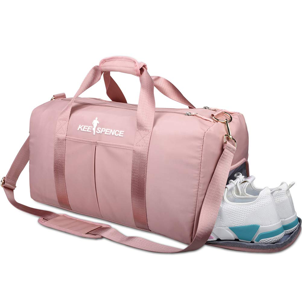 Gym Duffle Bag, with Shoe Compartment and Wet Pocket for Women Swim Sports Travel Gym Bag, 19.3 inch (Pink) by KEESPENCE