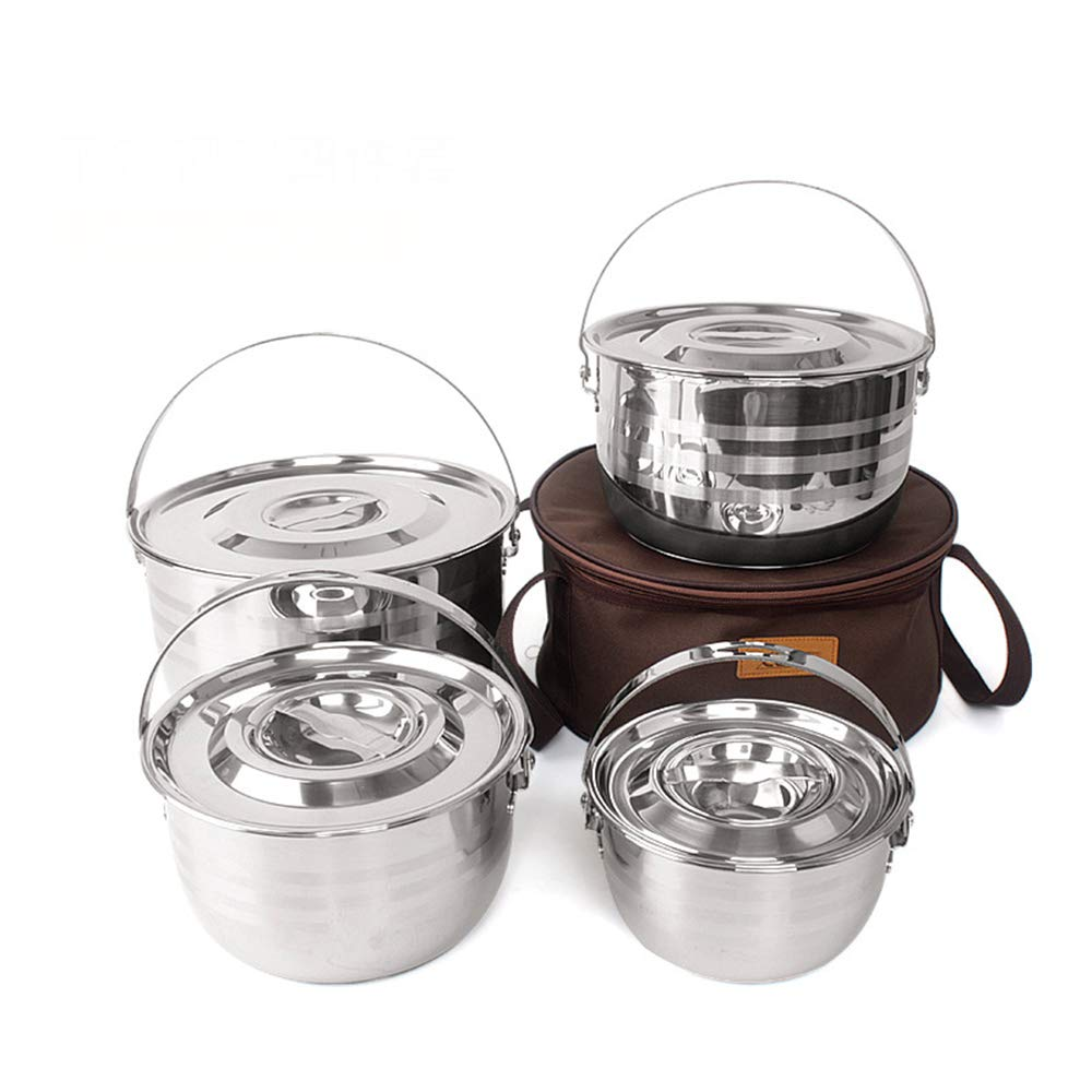 OutKeeper Camping Cookware Set, Compact Stainless Steel Campfire Cooking Pots and Pans, Camping Cookware Mess Kit by OutKeeper