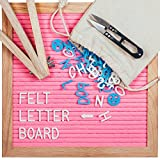 Letter Board, Message Board with Pink Felt Backing, 340 Letters, Premium Wooden Frame, Pair of Scissors & Wooden Stand for Home, Office & Special Occasions, 10 X 10 Inches