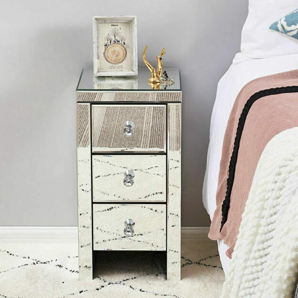 57cm 35.5 38 L*W*H Storeinuk Bedroom Luxury Mirrored Bedside Table Nightstand Unit Cabinet Chest of 1 Drawers
