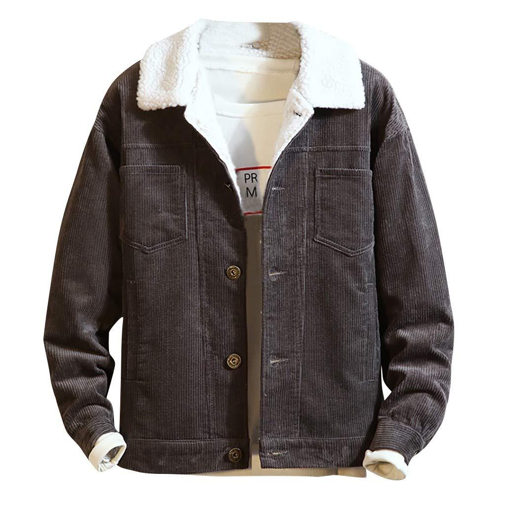 GNYD Cappotto in Cotone Casual Moda in Velluto A Coste in Puro Velluto A Coste da Uomo Elegante Taglie Forti Invernale Caldo Cappotti Vintage Outwear