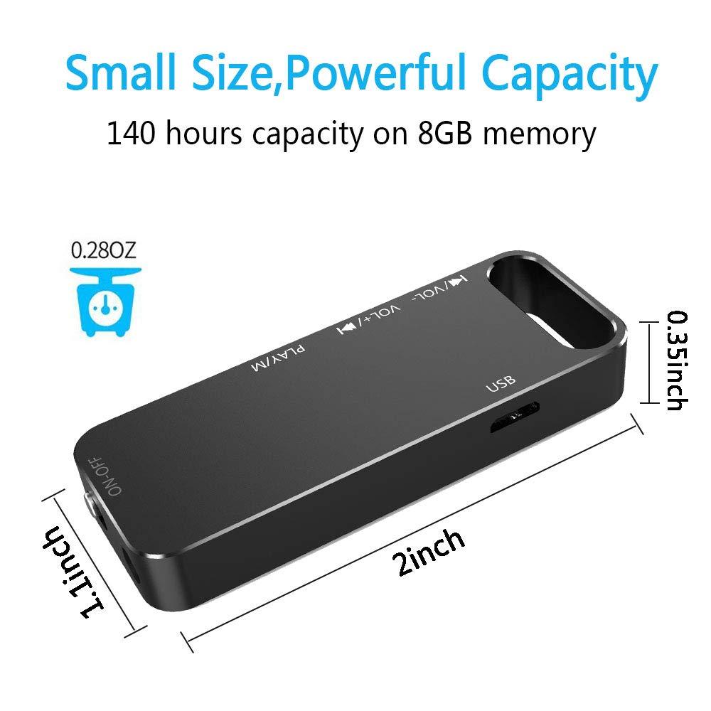 Amazon.com: Grabadora de voz, 8 GB Mini grabadora de sonido ...