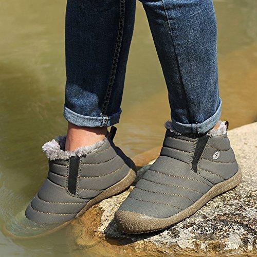 ... Gomnear Frauen Herren Snow Boots Wasserdicht Wandern Schuhe Leicht  Winter Anti-Rutsch Warm Sneaker Grau 945671def7