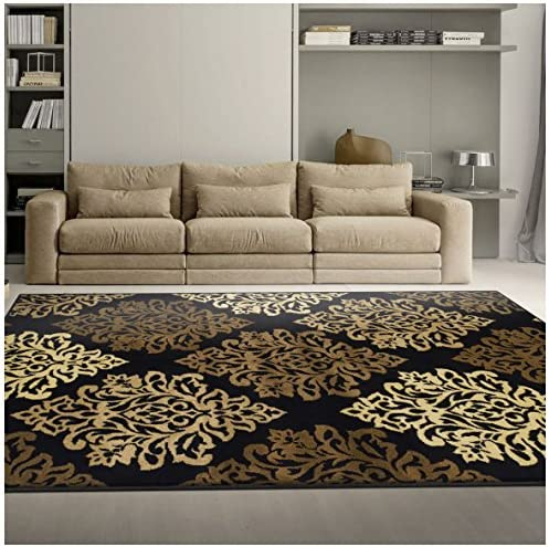 Superior Danvers Collection Area Rug, Modern Elegant Damask Pattern, 10mm Pile Height with Jute Backing, Affordable Contemporary Rugs – Black, 8 x 10 Rug