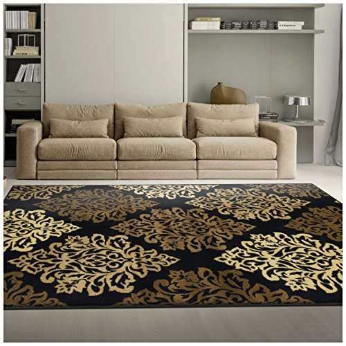 Superior Danvers Collection Area Rug, Modern Elegant Damask Pattern, 10mm Pile Height with Jute Backing, Affordable Contemporary Rugs - Black, 5' x 8' Rug (Brown Rugs Area And Black Beige)