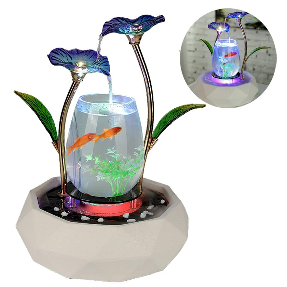 bluee MC.PIG Aquariums Fish Bowls Flowing Water Ornaments Fish Tank Living Room TV Cabinet Home Decoration Ceramic Fountain Water Landscape Family Furnishings Crafts Move (color   bluee)