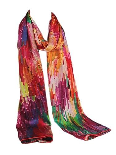 Prettystern P148 - LUJO 180 cm X 60 cm de la bufanda de seda satén pesado hecho a mano Fantasia Por ...