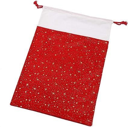 CZSM Pack de 2 Lienzo Sacos de Navidad con Regalos Bolsos de Lazo ...