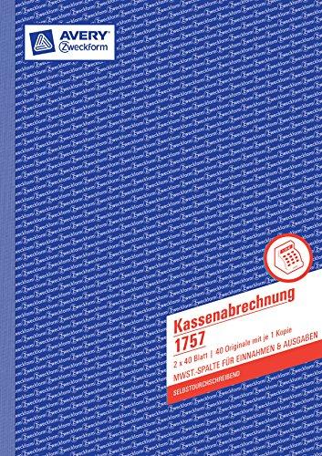 Avery Zweckform 1757 Kassenabrechnung (A4, mit MwSt.-Spalte, 2x40 Blatt) weiß/gelb