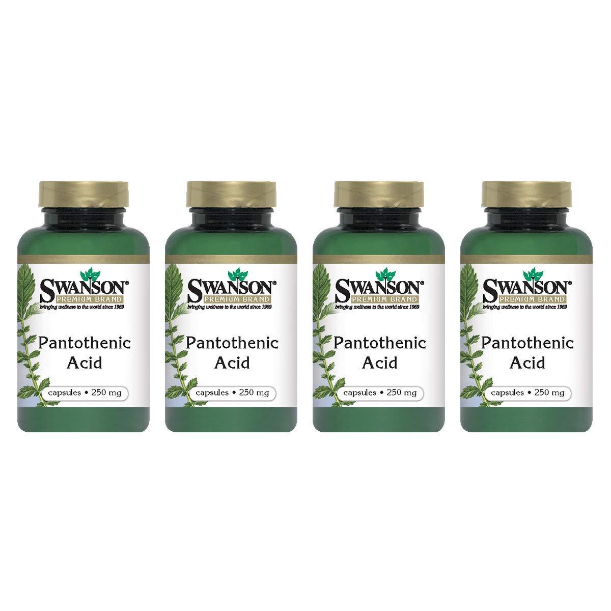 Swanson Pantothenic Acid (Vitamin B-5) Energy Metabolism Nerve Function Support 250 mg 250 Capsules (Caps) (4 Pack)