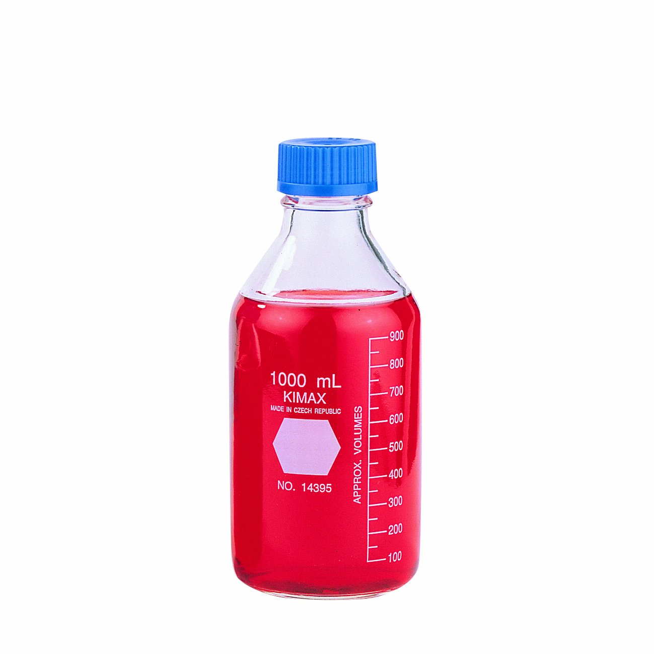 Kimble 14395-5000 Borosilicate Glass GL-45 Media/Storage Bottle With Blue Polypropylene Screw Thread Cap, 5 L by Kimble