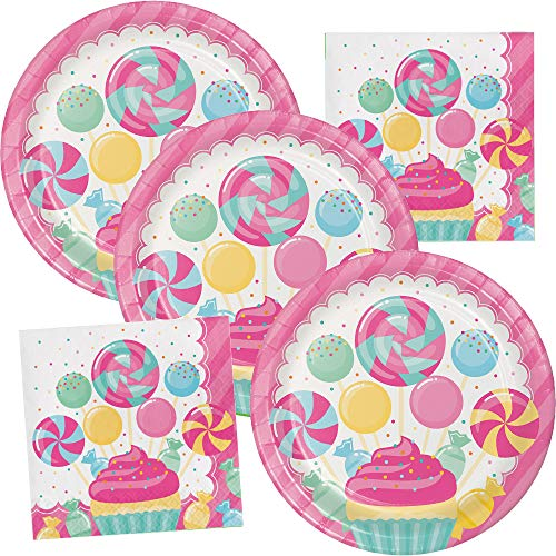 Cupcake Party Plates (Candy Bouquet Happy Birthday Party Supplies Plate and Napkin Set Serves up to 16)