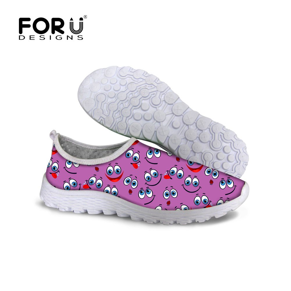 FOR U DESIGNS Stylish Purple Emoji Print Outdoor Travel Hiking Shoes For Kids Boys-Size EU45