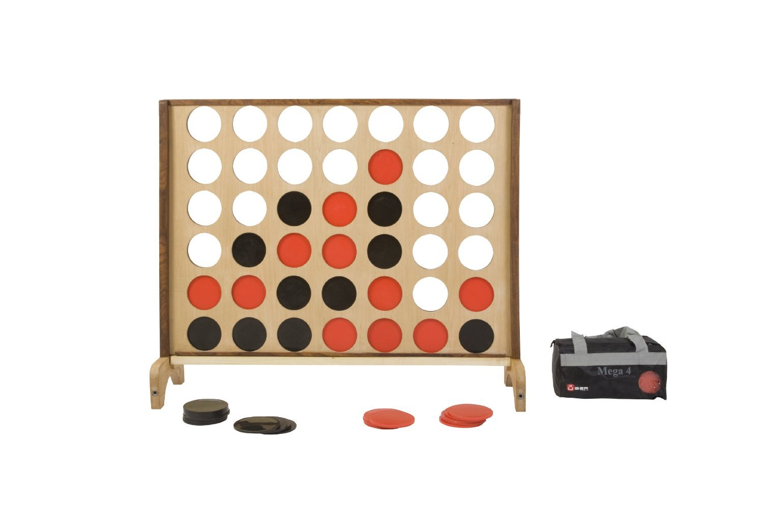 Uber Games Mega 4 in a Row - 4 feet wide x 3.5 feet tall - 5 inch coins red and black by Uber Games