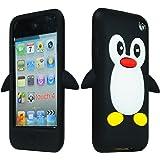 SODIAL(R) Funda Carcasa de Silicona para Apple iPod Touch 4 / 4th / 4g / iTouch Cuarta Generacion 8gb 16gb 32gb Mp3, Diseno de Pinguino Negro + Pano de Limpieza