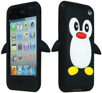 SODIAL(R) Funda Carcasa de Silicona para Apple iPod Touch 4 / 4th / 4g /  iTouch Cuarta Generacion 8gb 16gb 32gb Mp3, Diseno de Pinguino Negro + Pano  ...
