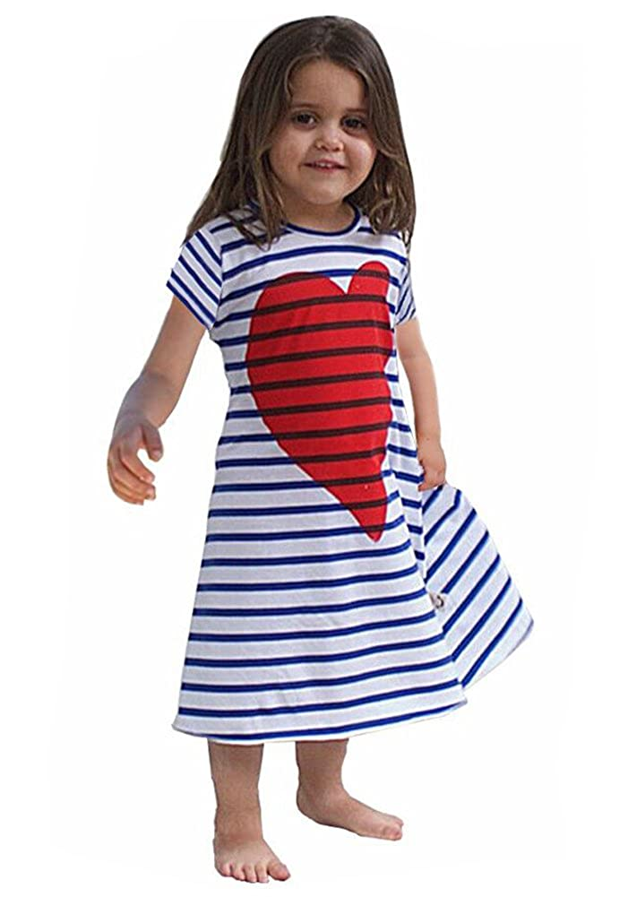 Calsunbaby Newborn Baby Girl Dress Striped Heart Printed Princess Sundress Partywear