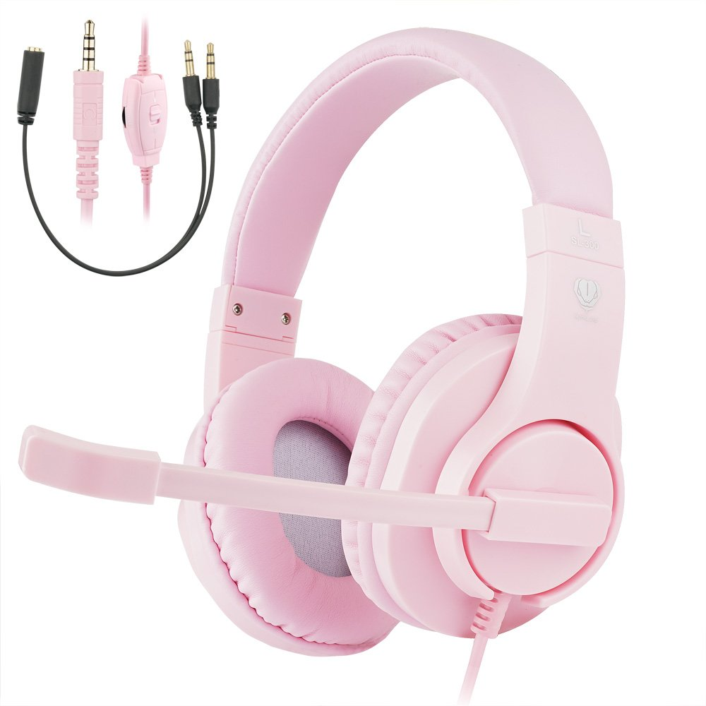 ShinePick 3.5mm PS4 Gaming Headset with Microphone and Volume Control Compatible with PS4, New Xbox One, Xbox One S, Xbox One X, Nintendo Switch, PC(Pink) by ShinePick