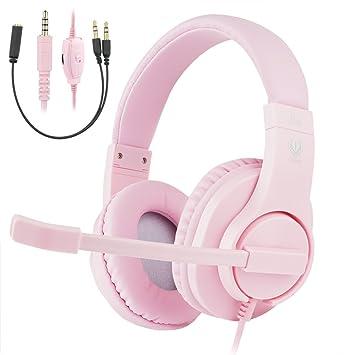 Samoleus Casque Audio Filaire Rose Avec Microphone Para Filles
