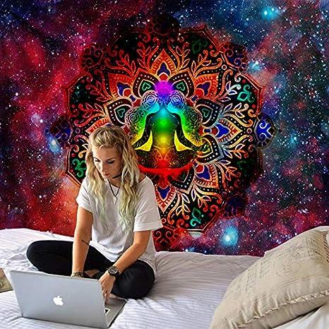 xqwzm Complementi darredo per la casa Om Yoga Seven Chakras Arazzo da Appendere al Muro Spiaggia di Sabbia Picnic Telo da Campeggio Tenda da Dormire Pad WS