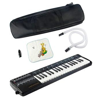MUSIC Wind instrument Melodica 37-Key Air Piano Keyboard con Tubo Largo elástico