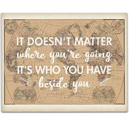 Doesn't Matter Where you're Going Art Print - 11x14 Unframed Art Print - Wedding/Gift Sign/Wood Sign/Reception Sign/Shower Gift/Travel Theme from Personalized Signs by Lone Star Art