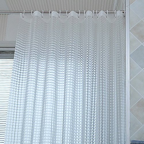 Shower curtain, 3D Effect Crystal Pattern bathroom Curtains liner set,72X72 Inch, mildew Resistant, Antibacterial, Odorless, Waterproof, Heavy Duty PEVA white bathroom curtains Semi-opaque by MOMODADA (Opaque Liner)