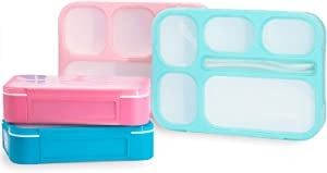 PlusPoint 4 Bento Boxes Set – Perfect Lunch Box For Kids and Adults – Meal Prep Made Easy – Portable and Lightweight –Leak-proof and Durable – Microwave and Dishwasher Safe