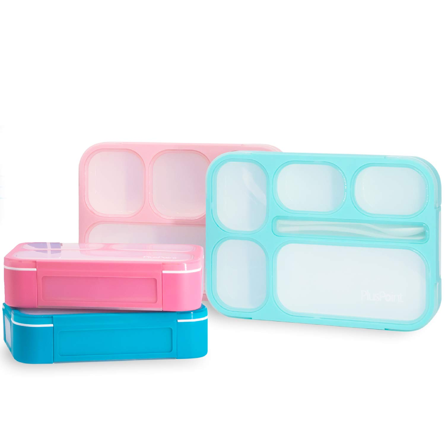 PlusPoint 4 Bento Boxes Set - Perfect Lunch Box For Kids and Adults - Meal Prep Made Easy - Portable and Lightweight -Leak-proof and Durable - Microwave and Dishwasher Safe by PlusPoint
