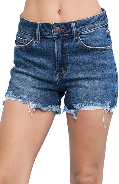 mid rise denim shorts