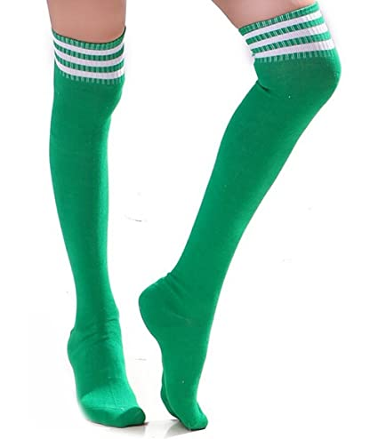 4b772aacb HugeStore Women Ladies Stripe Cotton Casual Long Socks Over Knee Socks  Thigh Knee High Stockings Green White: Amazon.co.uk: Kitchen & Home