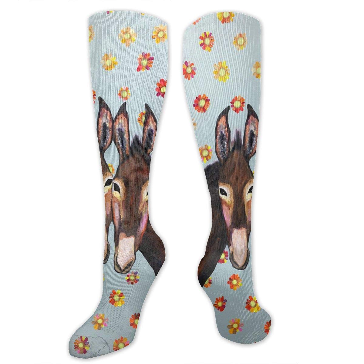 Donkey Love Oil Painting Mens Teens Colorful Funky Socks Cotton Fashion Patterned Socks Fun Dress Socks for Men